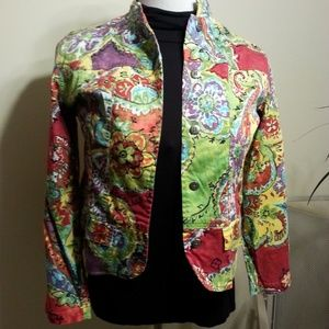 Chico's Multi Color Light Weight Jacket Size 1